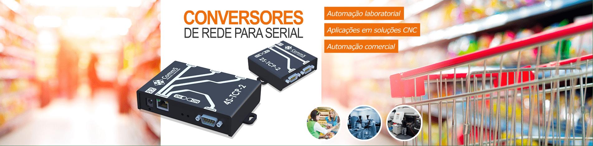 Conversores de rede para serial, automação laboratorial, aplicações em soluções CNC, automação comercial, etc
